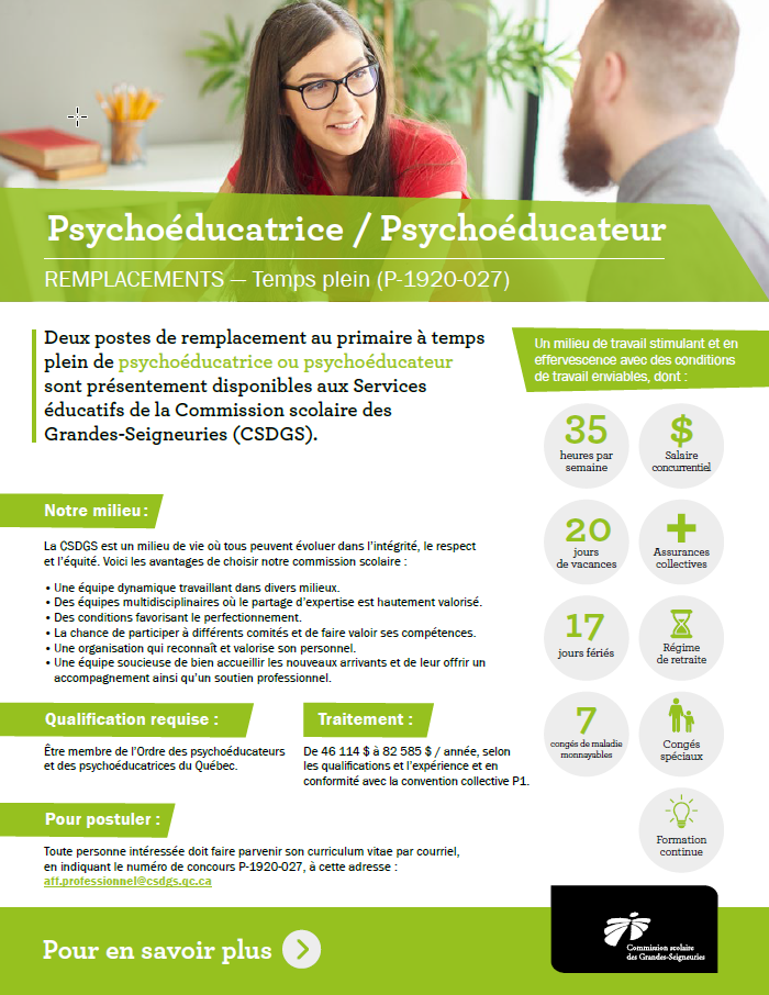 Psychologue - Commission scolaire des Grandes-Seigneuries (CSDGS)