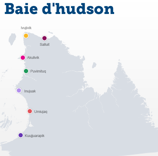 carte des villages de la Baie d'hudson